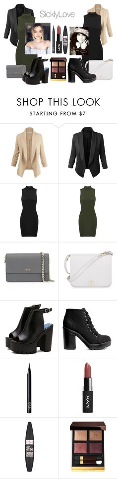 """""""SicklyLove"""" by meliiissav ❤ liked on Polyvore featuring LE3NO, DKNY, Furla, H&M, NARS Cosmetics, Maybelline and Tom Ford"""