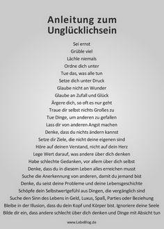 Deutsch mit Frau Virginia D'Alò: Anleitung zum Unglücklichsein auch gut zum Üben des Imperativs