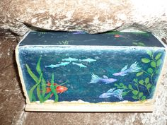 Door stop.brick painted to look like an aquarium: Painted Bricks Crafts, Brick Crafts, Painted Pavers, Brick Projects, Stone Crafts, Painted Stones, Pebble Painting, Pebble Art, Stone Painting