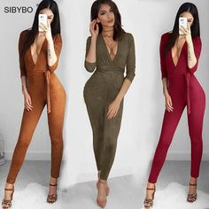 c6f259e769 Suede Bodycon Bandage Jumpsuit Women 2018 Deep V Neck Autumn Winter Rompers  Overalls Sexy Bodysuit Slim Club Party Jumpsuits