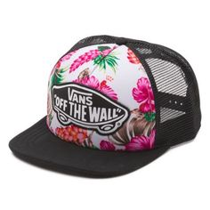 The Beach Girl Trucker is a polyester mesh-back trucker cap with an embroidered Vans OTW patch on the front panel and an adjustable back strap. Skate Shop, Vans Shop, Beach Girls, Hawaiian Hats, Embroidered Vans, Vans Hats, Truck Caps, Hat Embroidery, Vans Off The Wall