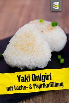 Yaki Onigiri, Sushi, Bento Box, Asian Recipes, Food And Drink, Asian Cuisine, Asian Food Recipes, Onigiri Recipe, Salmon And Creme Cheese