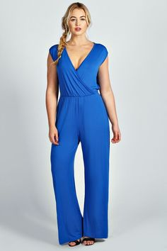Laura Cross Front Jumpsuit in cobalt by BooHoo Plus; also available in black.
