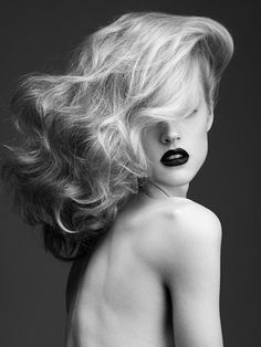 blond hair & dark lips <3 love the drama