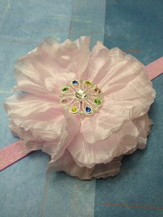 Baby Pink Silk Crinkle Flower Headband by ThePetitBowtique on Etsy, $9.00