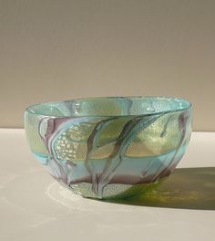 Murano.Glass bowl with oxidated silver leaf with coloured glass decors