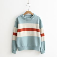 HARAJUKU+NEW+VINTAGE+STRIPES+KNITTED+SWEATER  Chinese+size,+please+check+our+measures++before+purchasing.+   Size: Bust+104cm;+ Shoulder+45cm;+ Length+57cm;+ Sleeve+Length+54cm  Material:+Acrylic+  Care:+Hand+wash+  Origin:+Made+in+China  (Divided+by+2.54+for+the+size+in+inches)+...