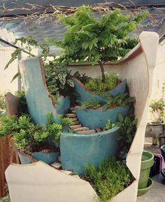 Broken pots gardening. Be fun to do