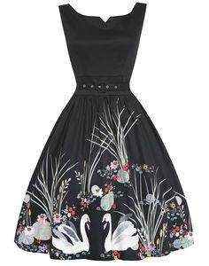 43c9dfa8ac160 Delta Swan Border Print Swing Dress