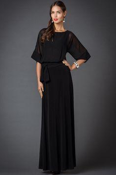 Party Black Maxi Dress.Straight Dress Occasion.Chiffon Dress