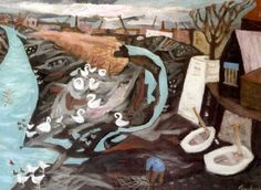 Julian Trevelyan. Low Tide Durham Wharf