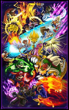 Ganondorf, Popo, Nana, Link, Lucas, Captain Falcon, Ike, Sheik, Bowser, Mario, Meta Knight, Samus, Luigi, Peach, Pit, Sonic and Pikachu.