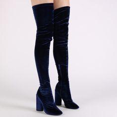 Eve Round Heel Long Boots in Navy Velvet