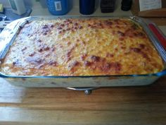 Breakfast casserole Place a layer of frozen shredded hash browns in the bottom of the pan.  Add 1-2 pounds meat (I use 1lb bacon and an 8oz. ham slice, diced) Add pkg frozen, chopped broccoli.  Spread all the above evenly throughout.  Combine 12 eggs, beaten and 4 cups milk. (I do them all in the blender. Suggest 6 eggs/2c. milk per blend). Pour the egg/milk mixture into the pan. Top with 1pkg. shredded cheese.  Refrigerate overnight (optional). Bake, uncovered for 45 mins @350°.