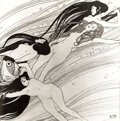 Shop Gustav Klimt - Fish Blood Surreal Japanese Art Poster created by ArtLoversCafe. Gustav Klimt, Klimt Art, Vienna Secession, Portraits From Photos, New Wave, Ecole Art, Black And White Painting, White Art, Vintage Mermaid