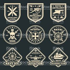 Vintage military and army vector emblems, badges and labels royalty-free vintage military and army vector emblems badges and labels stock vector art & more images of logo