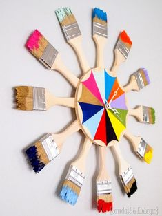 Colorful Paint Brush Starburst Clock (or mirror) DIY Step by Step Tutorial {Reality Daydream}