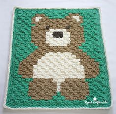 Crochet Bernat Blanket Bear - Repeat Crafter Me - corner to corner Crochet C2c, Baby Afghan Crochet Patterns, Easy Crochet Blanket, Manta Crochet, Crochet Afghans, Free Crochet, Crochet Crowd, Crochet Blankets, Knitting Patterns