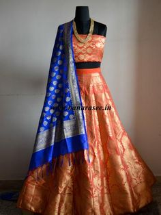 Banarasee/Banarasi Handwoven Art Silk Unstitched Lehenga & Blouse Fabric With Dupatta-Peach