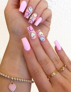 Hottest Pink Heart Nail Art Designs for 2019 Just Browse here and check out the Recent Styles of Pink Nail Art Designs with the Heart Images. If you also want to update your look of your nails then this style for you. Pink Acrylic Nail Designs, Valentine's Day Nail Designs, Pink Nail Art, Pink Acrylic Nails, Nails Design, Heart Nail Designs, Cool Nail Art, Colorful Nail Art, Cute Nail Art Designs