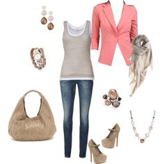Coral and Beige - Casual Friday for work or a night out! <3 LOVE LOVE LOVE