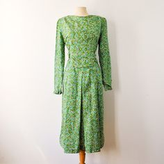 50s Silk Floral Dress Green now featured on Fab. #Fashion #Vintage