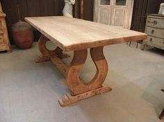 SOLD 1930 French Vintage Trestle Table In Solid Oak With Lyre Feet.