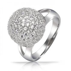 Pave Encrusted Disco Ball Sterling Silver Cocktail Ring