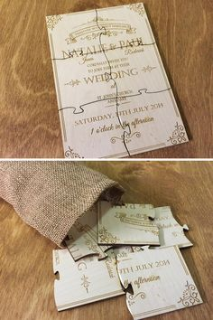 Have you found the missing piece of your puzzle? Let your guests share in your joy by giving them their own puzzles to do. Inspire Me Creations have a wooden puzzle invitation you can personalise. Your guests will want to keep this forever.