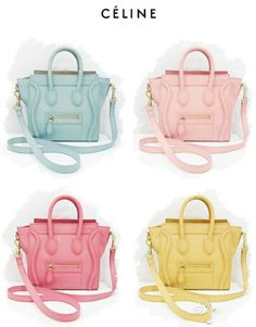 Pastel colored mini Celine bags! So cute! Bolsa Celine 33712304137cf