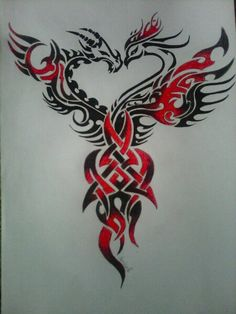 Like this only separated so dragons on one side of the pelvis and the phoenix is on the other