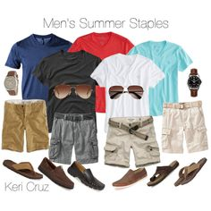 ~for dudes~ Original Pinner: Men's Summer Staples ~throw in a pair of jeans, khakis, and a crisp white button down and this would work for summer travel here in the US~