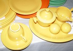 "Vintage Fiestaware Original Yellow Lot - Deep Dish Bowls, Chop Plate, Six 9"" Plates, Cup-3 Saucers, Creamer/Sugar, Salt-Pepper & More by NeedTOLiquidate on Etsy"