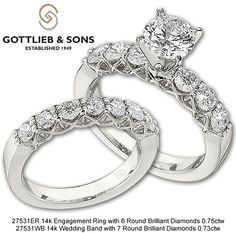 Shared prong diamond engagement set with beautiful trellis heads. This bridal set is Stunning from every angle! Find a Gottlieb & Sons dealer near you! Bridal Sets, Wedding Sets, Engagement Sets, Couple Rings, Jewelry Stores, Bridal Jewelry, Diamond Jewelry, Jewelry Collection, Sons