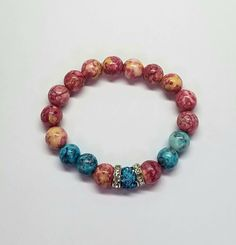 Pink and Blue Singular Sensation Turquoise Water, Colorful Bracelets, Natural Gemstones, Jewelry Collection, Handmade Jewelry, Beaded Bracelets, Couture, Beads, Pretty