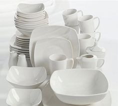PURCHASED 2 sets Perfect for stylish, contemporary entertaining the Amalfa Dinnerware Set from Gibson Overseas is timelessly chic. This white ceramic dinnerware has a soft square shape that adds a modern touch to this service for Casual Dinnerware Sets, Dinnerware Sets For 12, Square Dinnerware Set, White Dinnerware, Porcelain Dinnerware, Dinnerware Ideas, White Dish Set, Mikasa Dinnerware, Contemporary Dinnerware