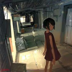 Anime pics and other stuff Sky Anime, Anime City, Gas Mask Art, Japon Illustration, Perspective Art, Cartoon Girl Drawing, Sad Art, Environment Concept Art, Art Reference Poses