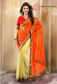 98ad4f3659b6b7 Orange And Yellow Georgette Chiffon Saree With Dupioni Blouse - Georgette  Sarees By Admyrin