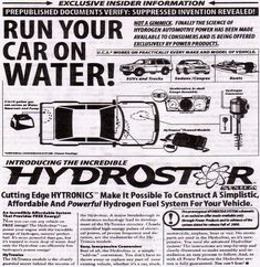 Our full illustration plans on how to convert your car to run on water with our step by step instructions on how to run on water. Hydrogen Generator, Gas Generator, Engineering Subjects, Current Electric, Hydrogen Car, Basic Physics, Thermal Energy, Energy Conservation, Alternative Energy