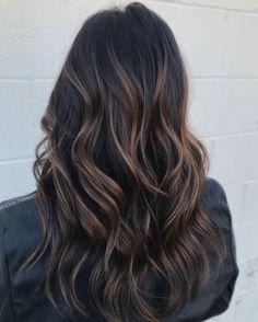 Highlights For Dark Brown Hair, Brown Hair Balayage, Lowlights For Black Hair, Dark Brown Hair With Low Lights, Dark Brown Balayage, Chunky Highlights, Dark Highlighted Hair, Darkest Brown Hair Color, Ecaille Hair Color