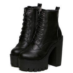 Black Faux Leather PU Chunky Fashion Winter Short PU Almond Toe High heeled Platform Boots