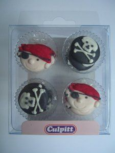12 PIRATE SKULL & CROSSBONES Sugar Cake Decorations (Pipings){Cupcake Toppers}: Amazon.co.uk: Kitchen & Home
