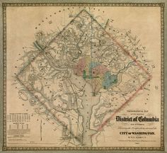 Washington Dc Art Print featuring the drawing Antique Map Of Washington Dc By Colton And Co - 1862 by Blue Monocle