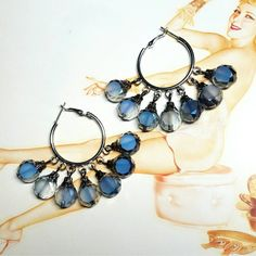 Only $6.69 on Etsy! - SALE Stainless Steel Hoop Earrings w/Dangling Unique Iridescent Round Glass Faceted Slate Blue & Smokey Quartz Opaque Pattern FREE SHIPPING https://www.etsy.com/listing/258772000/sale-stainless-steel-hoop-earrings