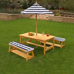 Outdoor Table & Bench Set with Cushions & Umbrella - Navy & White Stripes - Kidkraft KidKraft Outdoor Patio Set is ideal for enjoying a picnic, playing games or simply visiting on beautiful days. The adjustable umbrella offers shady relief from t Kids Outdoor Table, Wooden Outdoor Table, Kids Picnic Table, Outdoor Tables And Chairs, Kids Table And Chairs, Outdoor Living, Outdoor Decor, Kids Outdoor Furniture, Kid Furniture