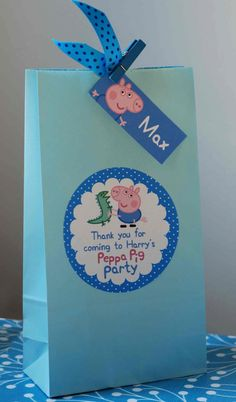 Personalised Childrens PEPPA Pig GEORGE Pig Birthday Party Bag Activity…