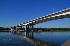 Voroshilovsky bridge in Rostov-on-Don - The bridge connects European (right one) and Asian (left and the opposite one on the pic) banks of Don river in Rostov-on-Don