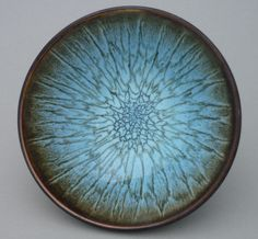 Ceramics by Meredith Stewart Here is my best-selling bowl, chun on tenmoku. I make 750gm, 250gm and really big ones - six kilos or more. It took four years of glazings and firings with notes to work...