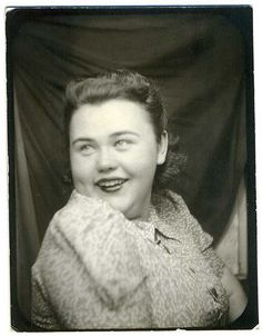 ** Vintage Photo Booth Picture **  Beautiful Smiling Woman.