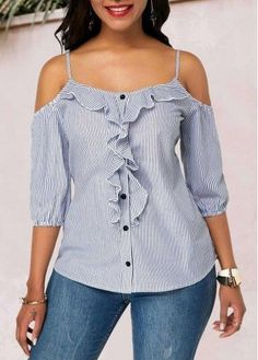 Tops For Women Strappy Cold Shoulder Ruffle Trim Embellished Striped Blouse Trendy Tops For Women, Blouses For Women, Stylish Tops, Blouse Styles, Blouse Designs, Trendy Fashion, Fashion Outfits, Fashion Blouses, Blouse Outfit